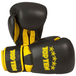 TOP TEN HERO BOXING GLOVES BLACK//YELLOW Sparring Boxing Gloves Training